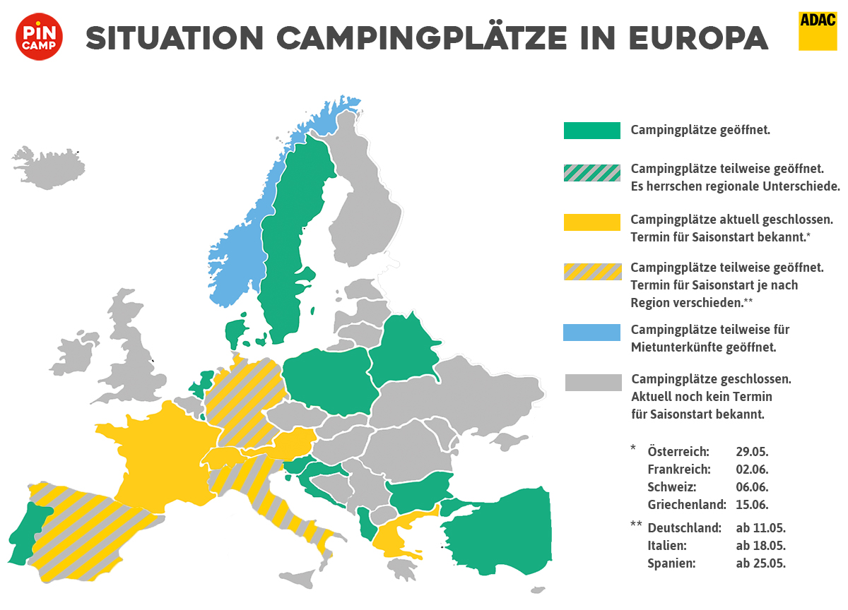 Camping und Corona - Situation Campingplätze in Europa